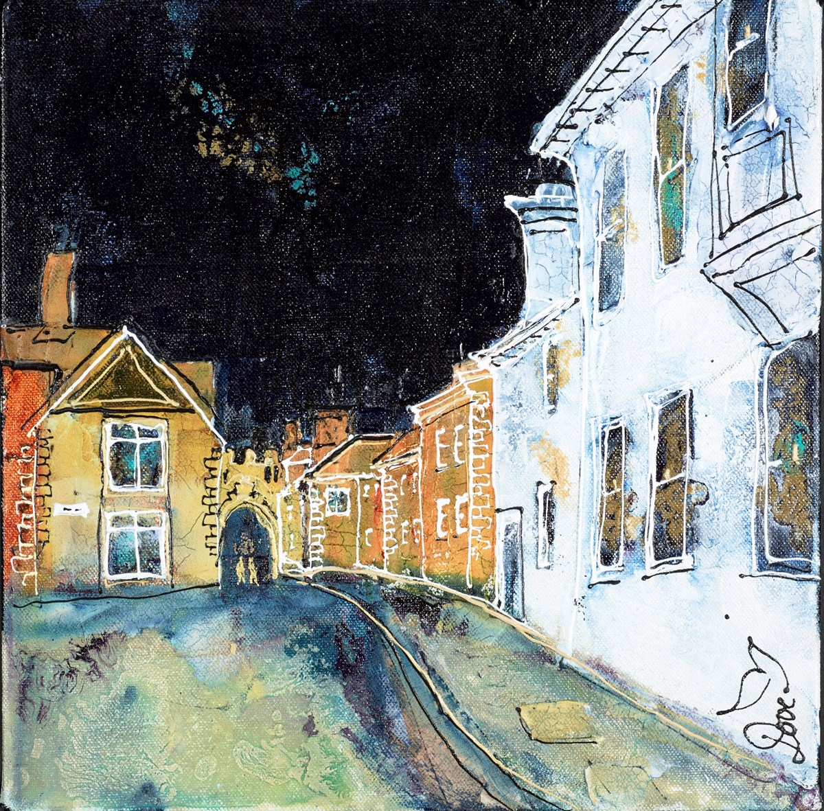 Back Streets, Salisbury by katharine dove -  sized 12x12 inches. Available from Whitewall Galleries